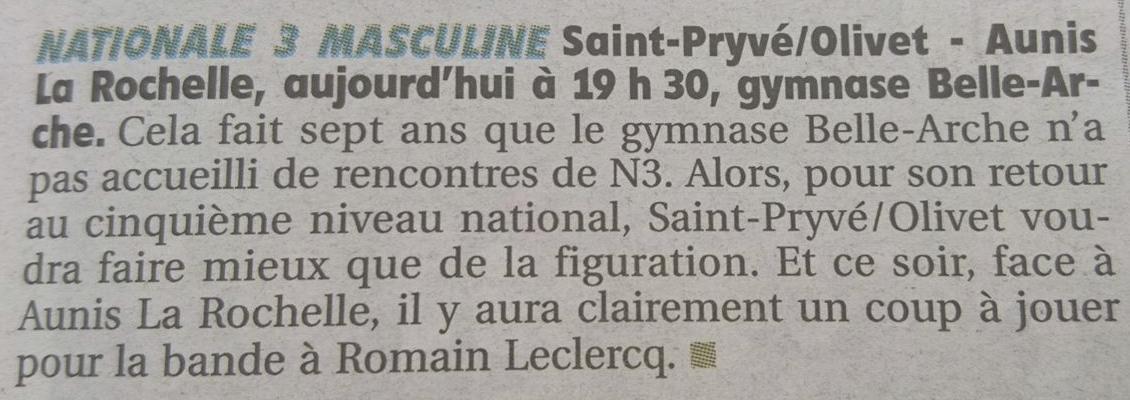 Annonce match Seniors 1 – Aunis La Rochelle (LaRep 16sep2017)